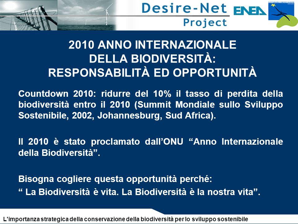2010 ANNO INTERNAZIONALE DELLA BIODIVERSITÀ: RESPONSABILITÀ ED OPPORTUNITÀ