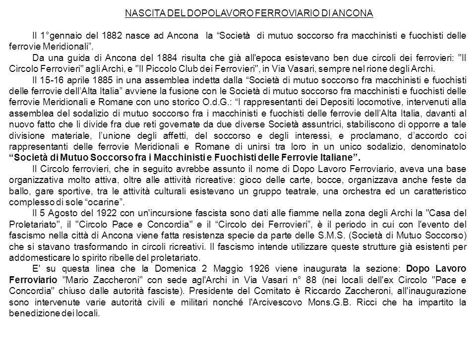 NASCITA DEL DOPOLAVORO FERROVIARIO DI ANCONA