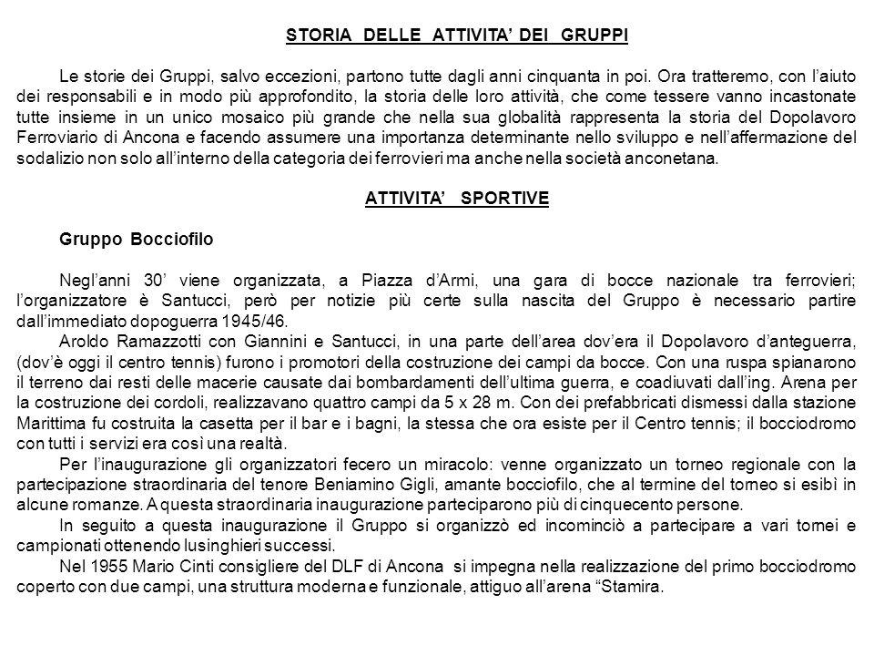 STORIA DELLE ATTIVITA' DEI GRUPPI