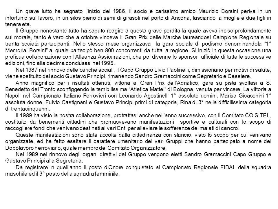 Un grave lutto ha segnato l'inizio del 1986, il socio e carissimo amico Maurizio Borsini periva in un infortunio sul lavoro, in un silos pieno di semi di girasoli nel porto di Ancona, lasciando la moglie e due figli in tenera età.