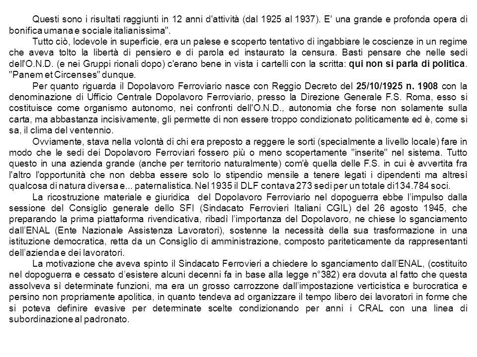 Questi sono i risultati raggiunti in 12 anni d attività (dal 1925 al 1937). E una grande e profonda opera di bonifica umana e sociale italianissima .