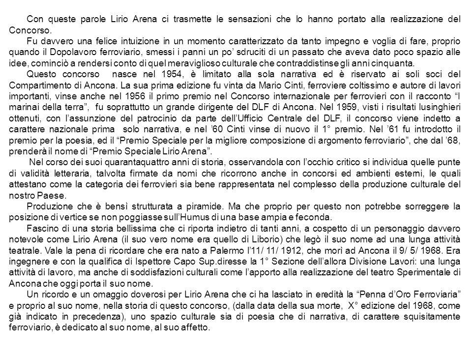 Con queste parole Lirio Arena ci trasmette le sensazioni che lo hanno portato alla realizzazione del Concorso.