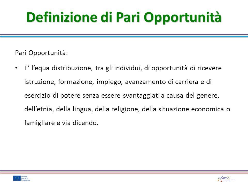 Definizione di Pari Opportunità