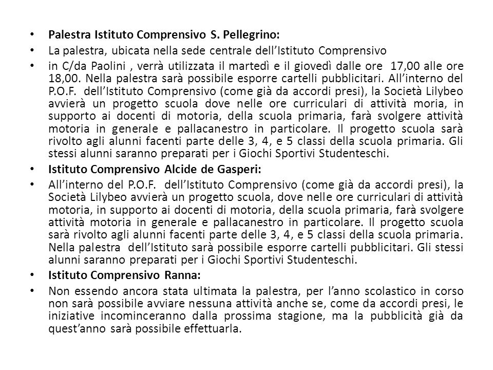 Palestra Istituto Comprensivo S. Pellegrino: