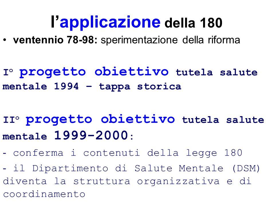 l'applicazione della 180ventennio 78-98: sperimentazione della riforma. Io progetto obiettivo tutela salute mentale 1994 – tappa storica.