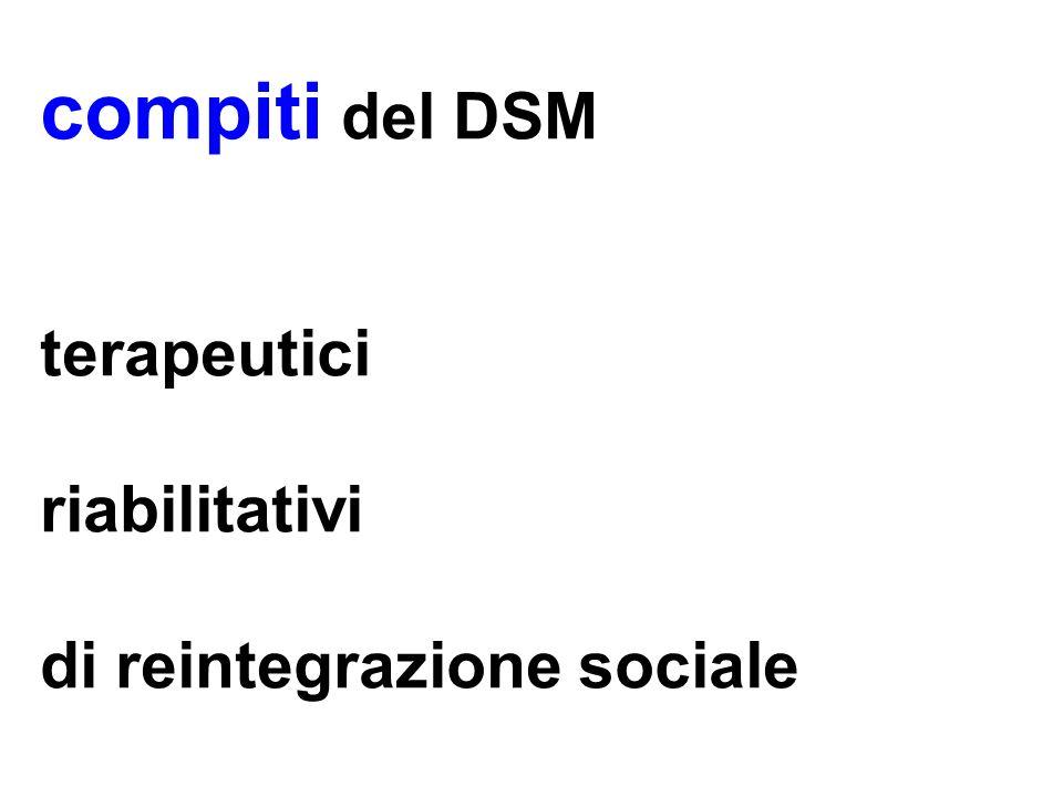 compiti del DSM terapeutici riabilitativi di reintegrazione sociale