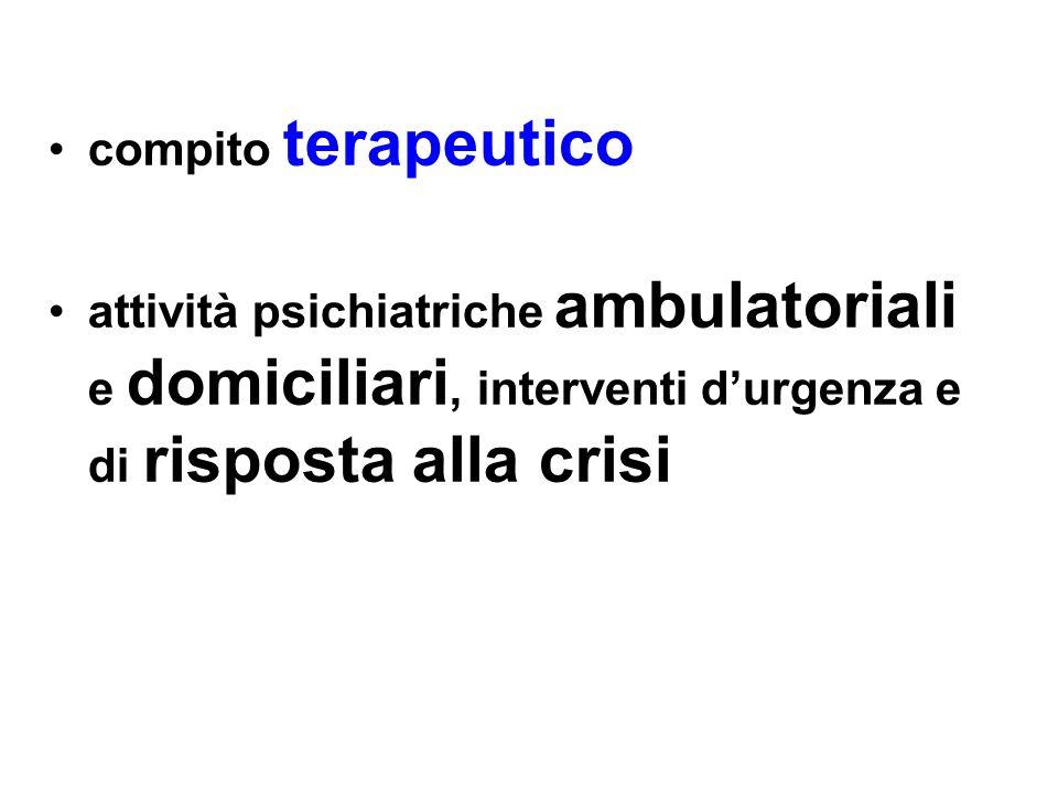 compito terapeuticoattività psichiatriche ambulatoriali e domiciliari, interventi d'urgenza e di risposta alla crisi.