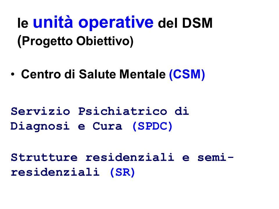le unità operative del DSM (Progetto Obiettivo)