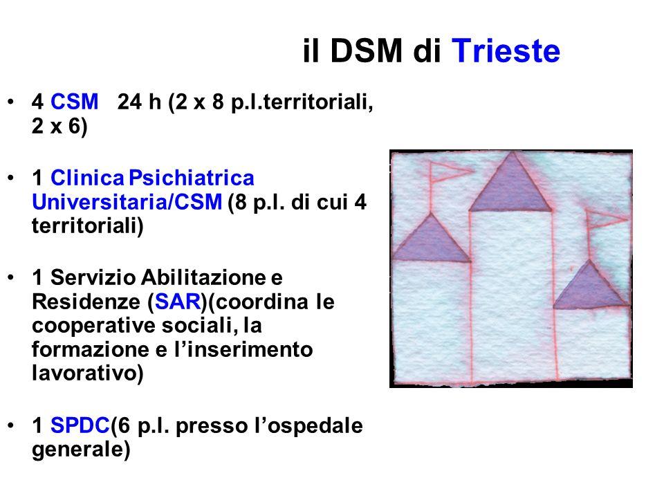 il DSM di Trieste 4 CSM 24 h (2 x 8 p.l.territoriali, 2 x 6)