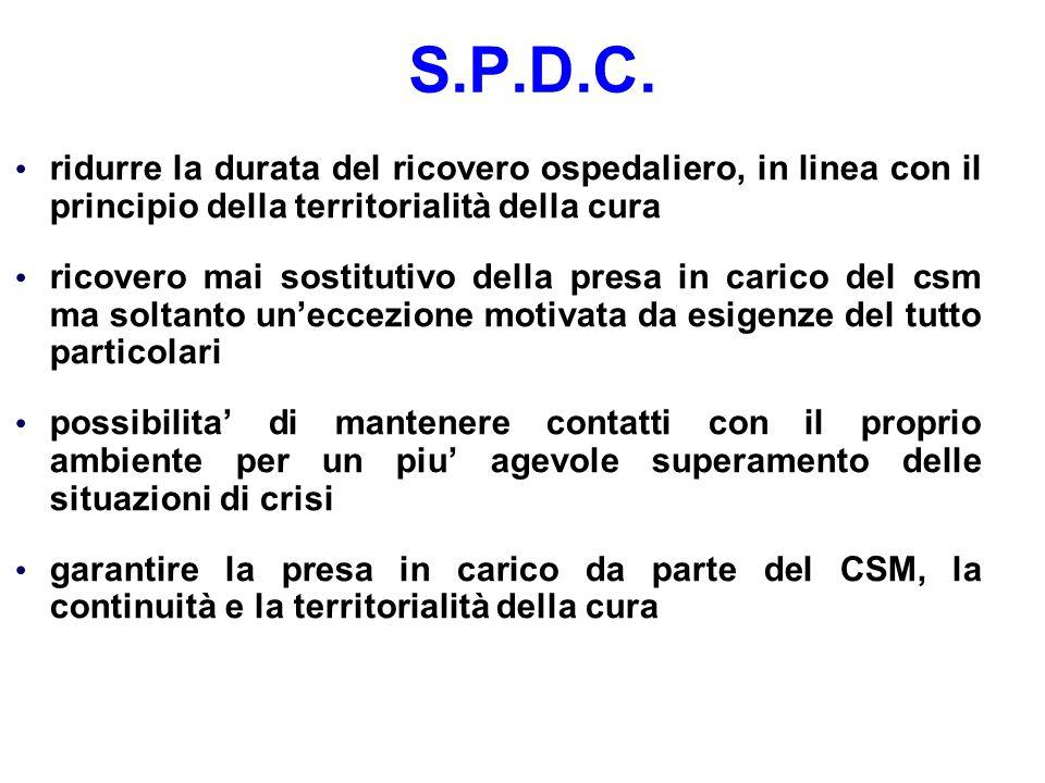 S.P.D.C. ridurre la durata del ricovero ospedaliero, in linea con il principio della territorialità della cura.