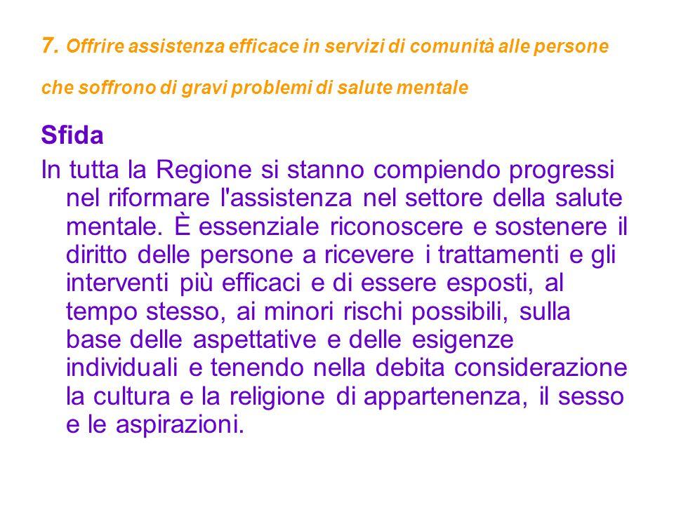 7. Offrire assistenza efficace in servizi di comunità alle persone che soffrono di gravi problemi di salute mentale