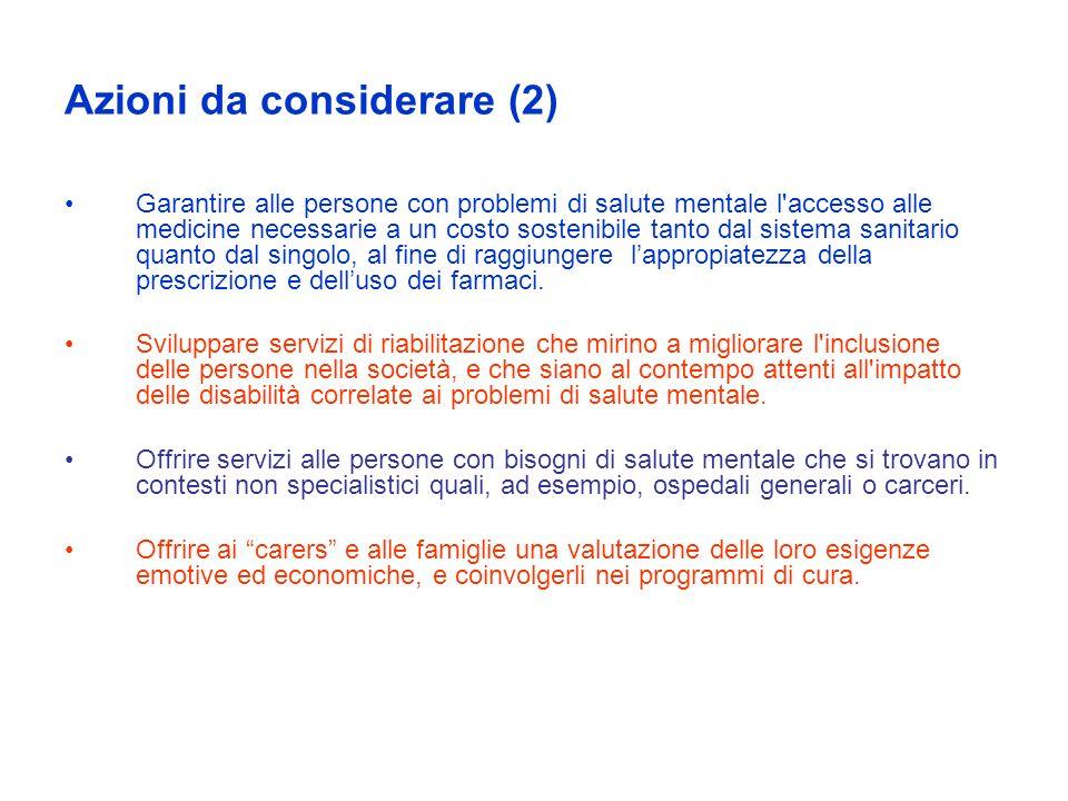 Azioni da considerare (2)
