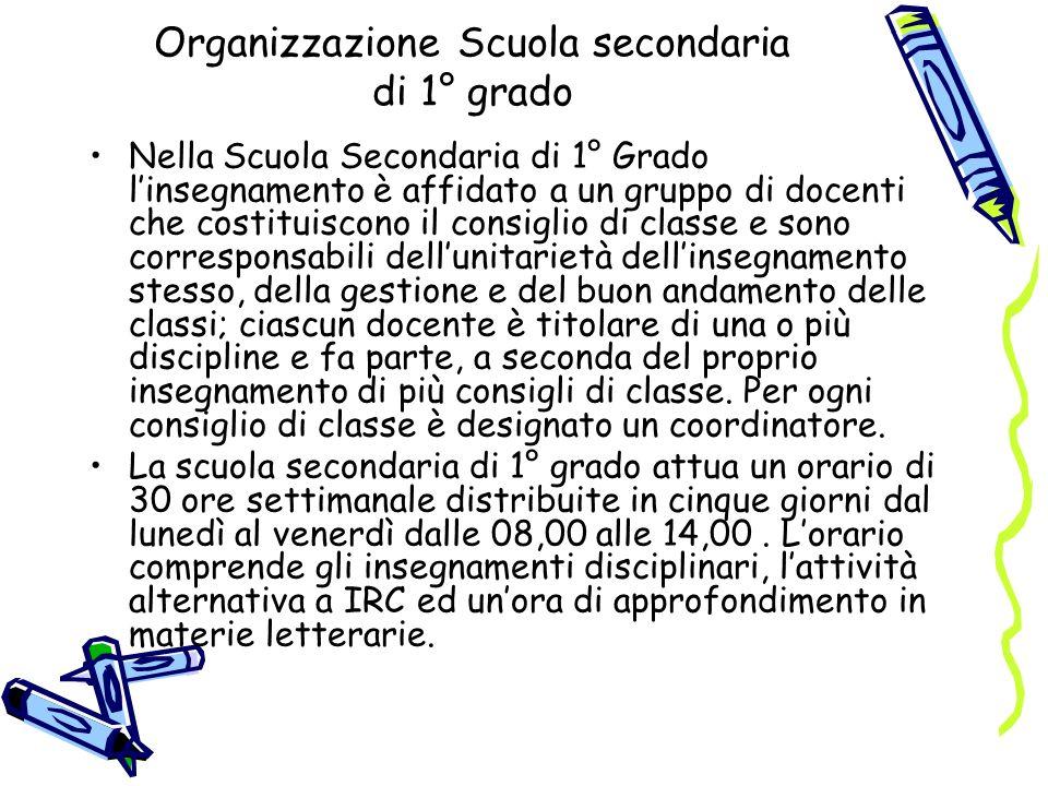 Organizzazione Scuola secondaria di 1° grado