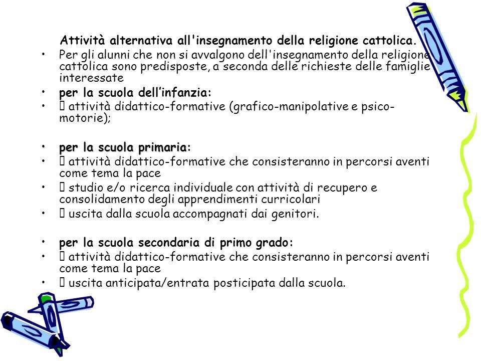 Attività alternativa all insegnamento della religione cattolica.