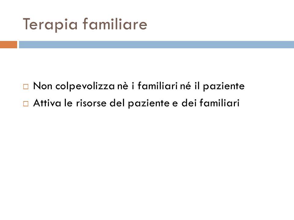 Terapia familiare Non colpevolizza nè i familiari né il paziente