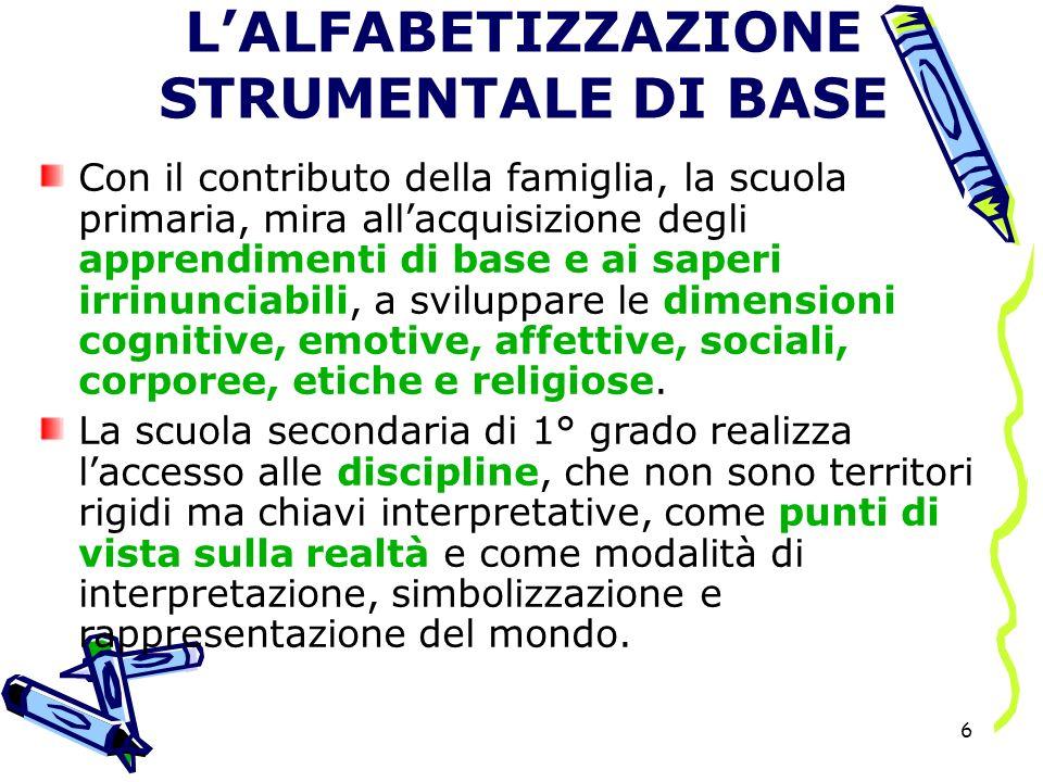 L'ALFABETIZZAZIONE STRUMENTALE DI BASE
