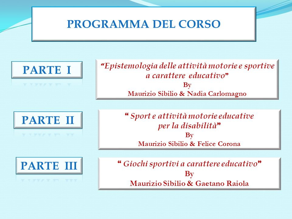 PROGRAMMA DEL CORSO PARTE I PARTE II PARTE III a carattere educativo