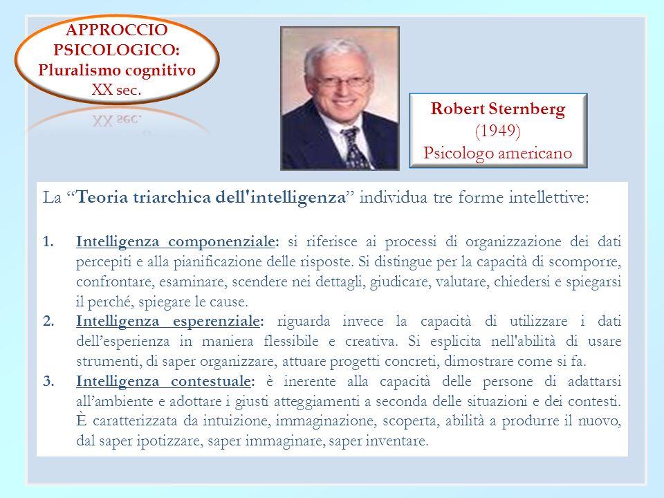 APPROCCIO PSICOLOGICO: Pluralismo cognitivo. XX sec. Robert Sternberg. (1949) Psicologo americano.