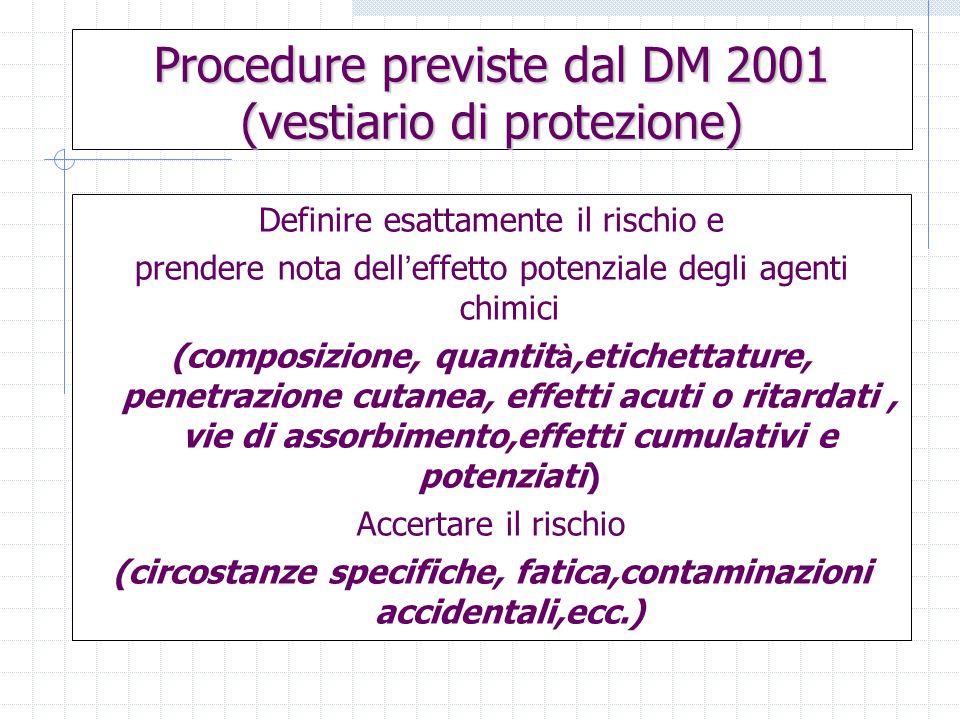 Procedure previste dal DM 2001 (vestiario di protezione)