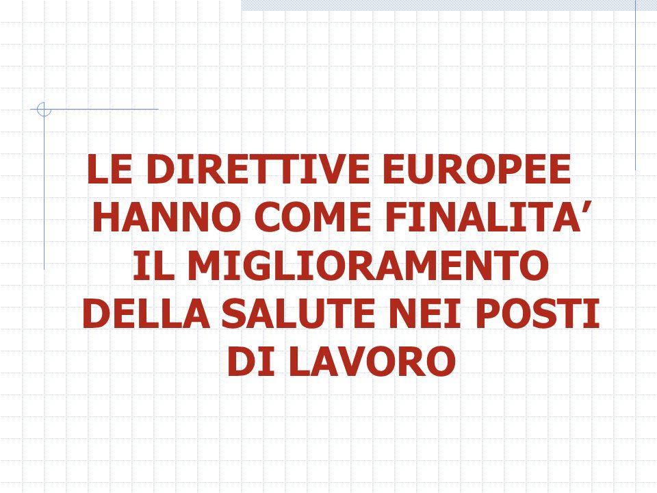LE DIRETTIVE EUROPEE HANNO COME FINALITA' IL MIGLIORAMENTO DELLA SALUTE NEI POSTI DI LAVORO
