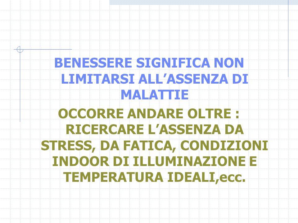 BENESSERE SIGNIFICA NON LIMITARSI ALL'ASSENZA DI MALATTIE