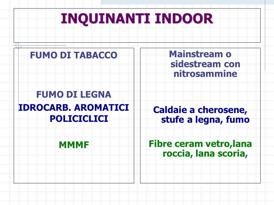 INQUINANTI INDOOR FUMO DI TABACCO FUMO DI LEGNA