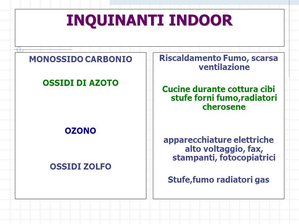 INQUINANTI INDOOR MONOSSIDO CARBONIO OSSIDI DI AZOTO OZONO