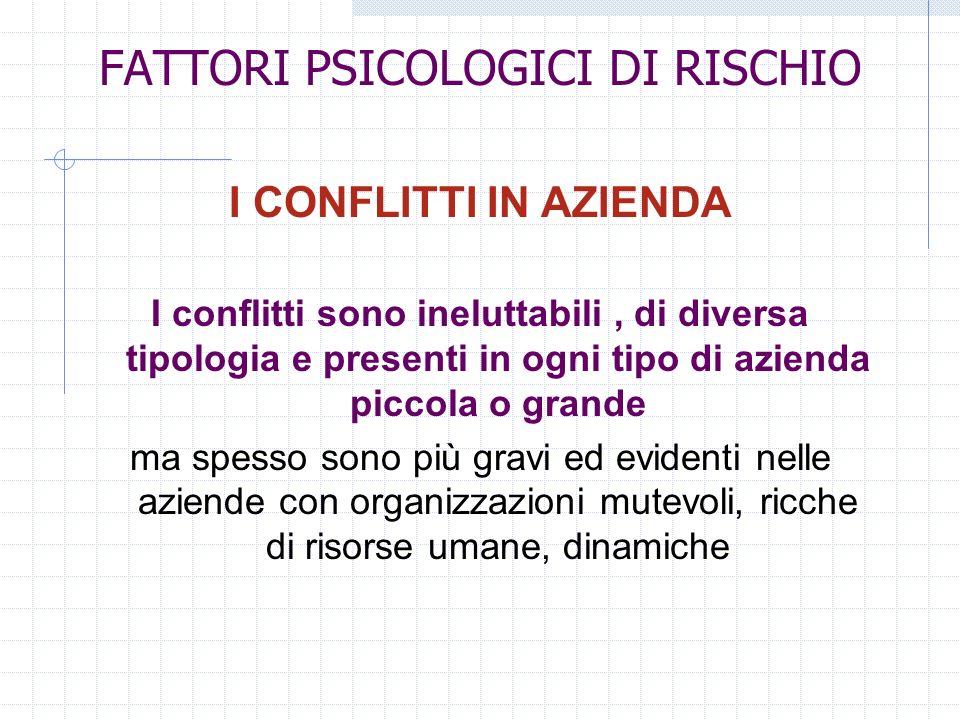 FATTORI PSICOLOGICI DI RISCHIO