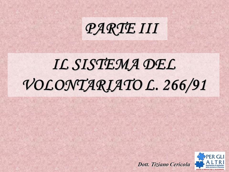 IL SISTEMA DEL VOLONTARIATO L. 266/91