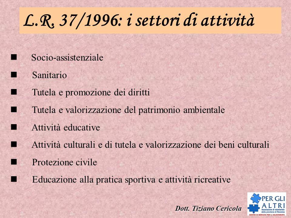 L.R. 37/1996: i settori di attività