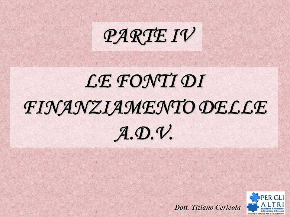 LE FONTI DI FINANZIAMENTO DELLE A.D.V.