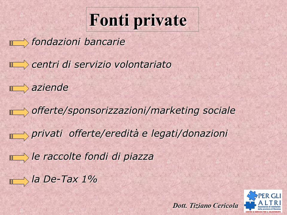 Fonti private fondazioni bancarie centri di servizio volontariato