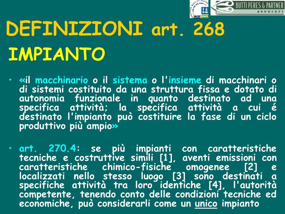 DEFINIZIONI art. 268 IMPIANTO