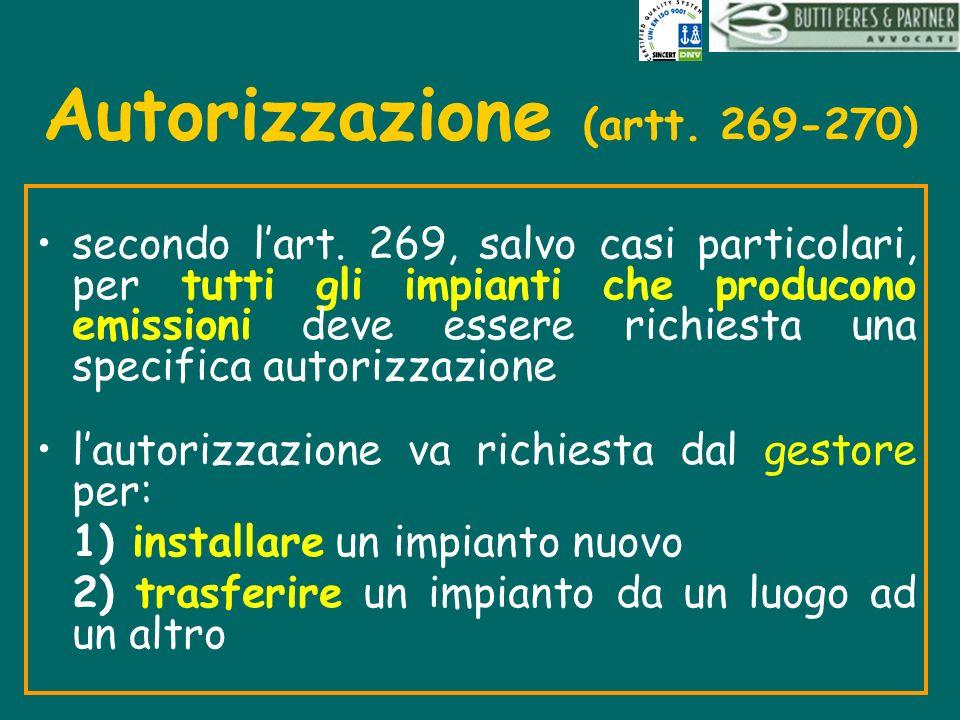 Autorizzazione (artt. 269-270)
