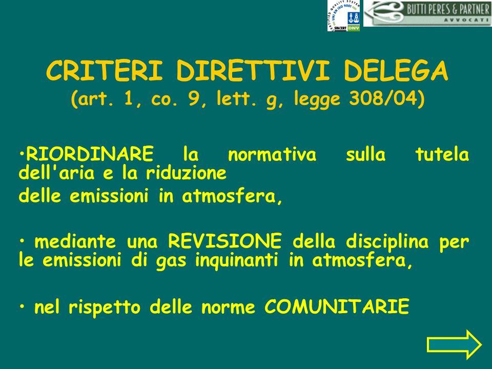 CRITERI DIRETTIVI DELEGA (art. 1, co. 9, lett. g, legge 308/04)