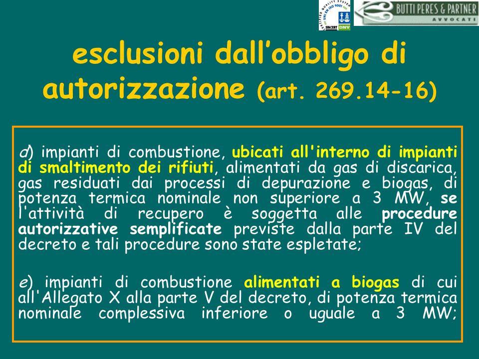 esclusioni dall'obbligo di autorizzazione (art. 269.14-16)