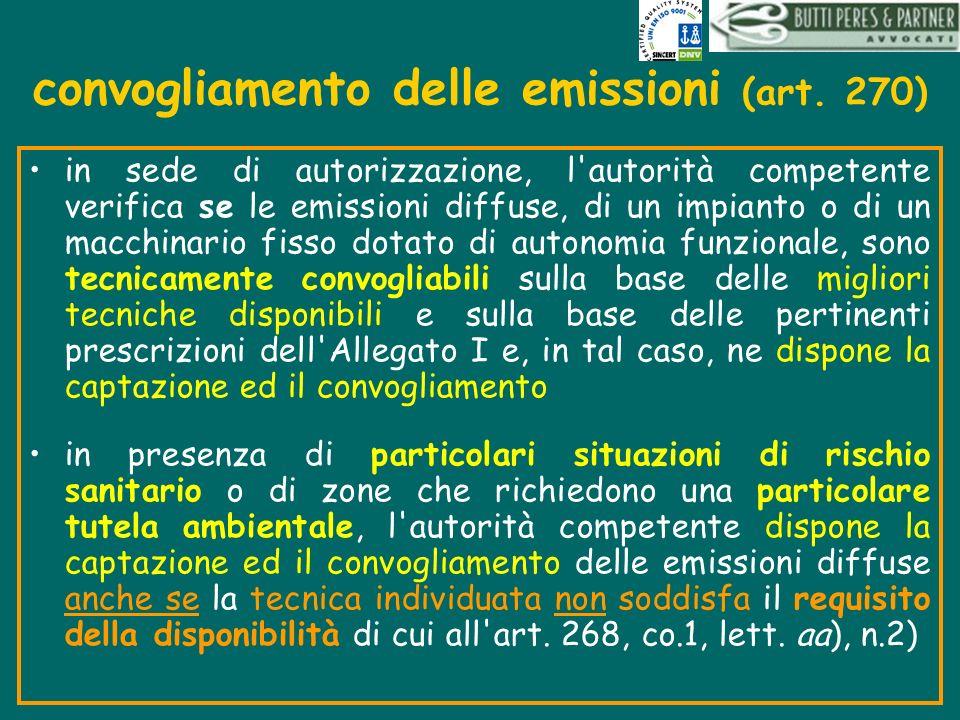 convogliamento delle emissioni (art. 270)