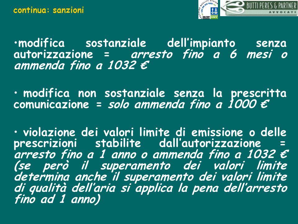 continua: sanzioni modifica sostanziale dell'impianto senza autorizzazione = arresto fino a 6 mesi o ammenda fino a 1032 €