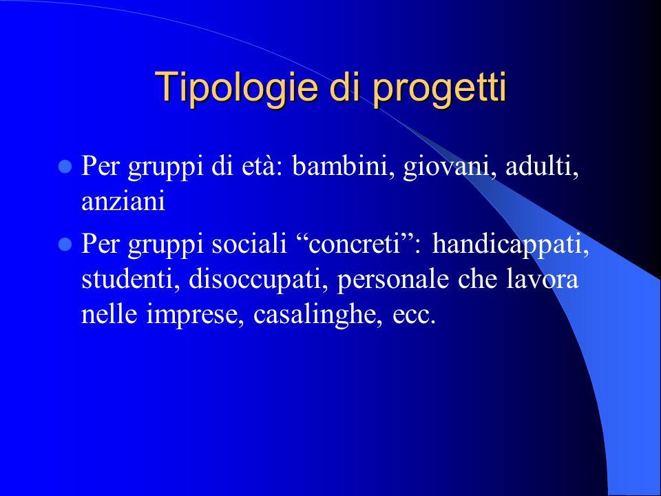 Tipologie di progetti Per gruppi di età: bambini, giovani, adulti, anziani.