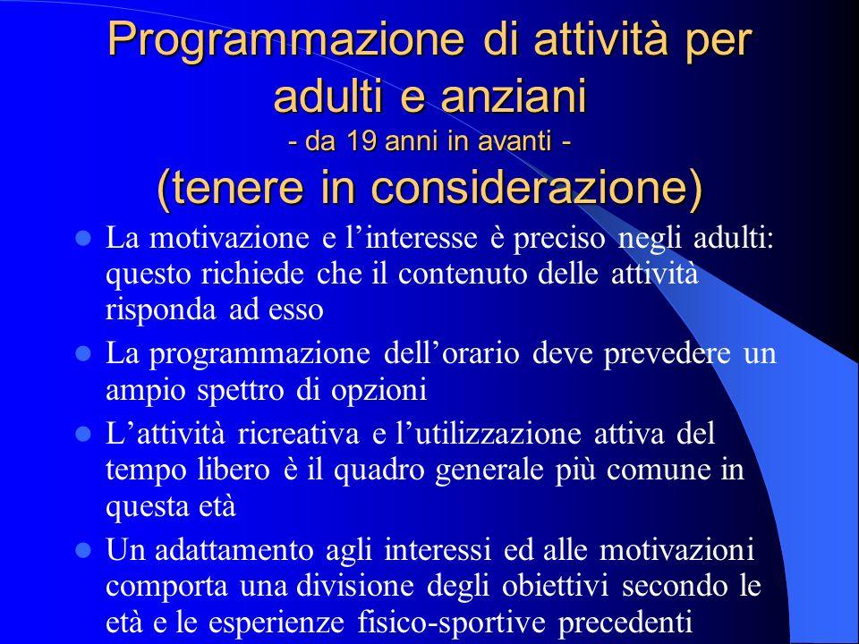 Programmazione di attività per adulti e anziani - da 19 anni in avanti - (tenere in considerazione)