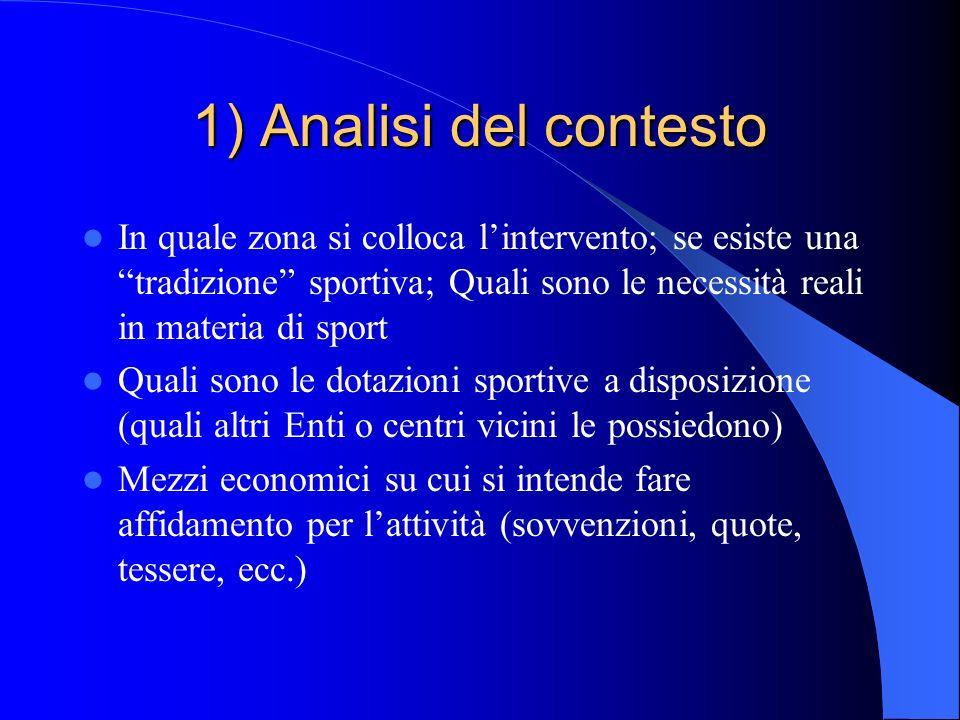 1) Analisi del contesto In quale zona si colloca l'intervento; se esiste una tradizione sportiva; Quali sono le necessità reali in materia di sport.