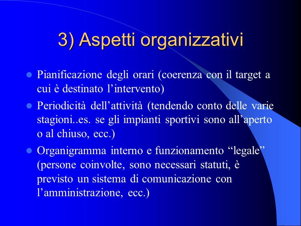 3) Aspetti organizzativi