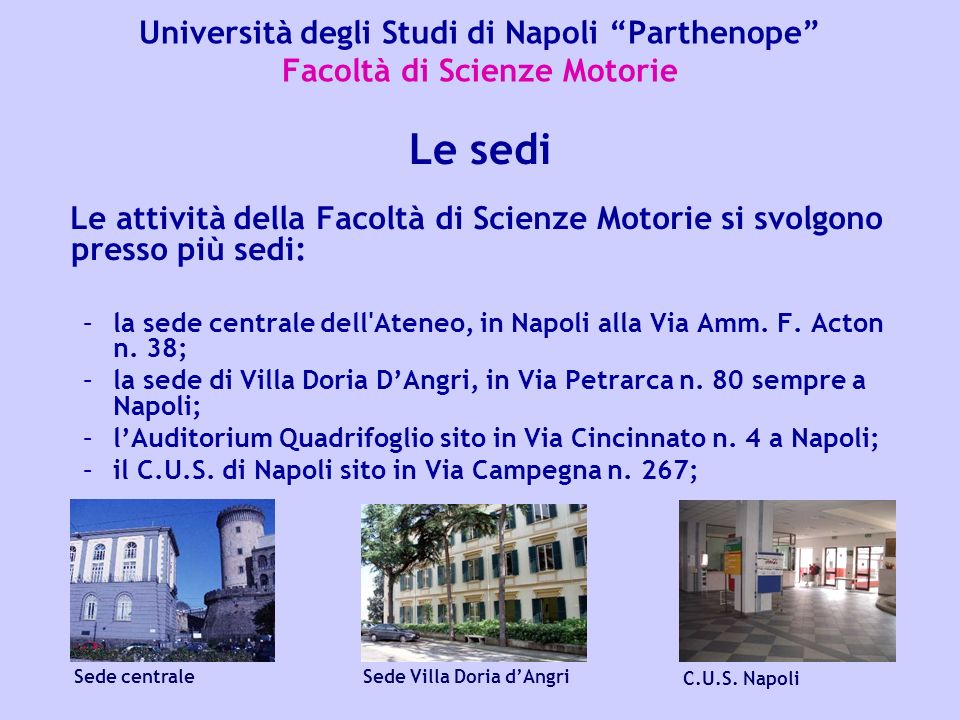 Università degli Studi di Napoli Parthenope Facoltà di Scienze Motorie