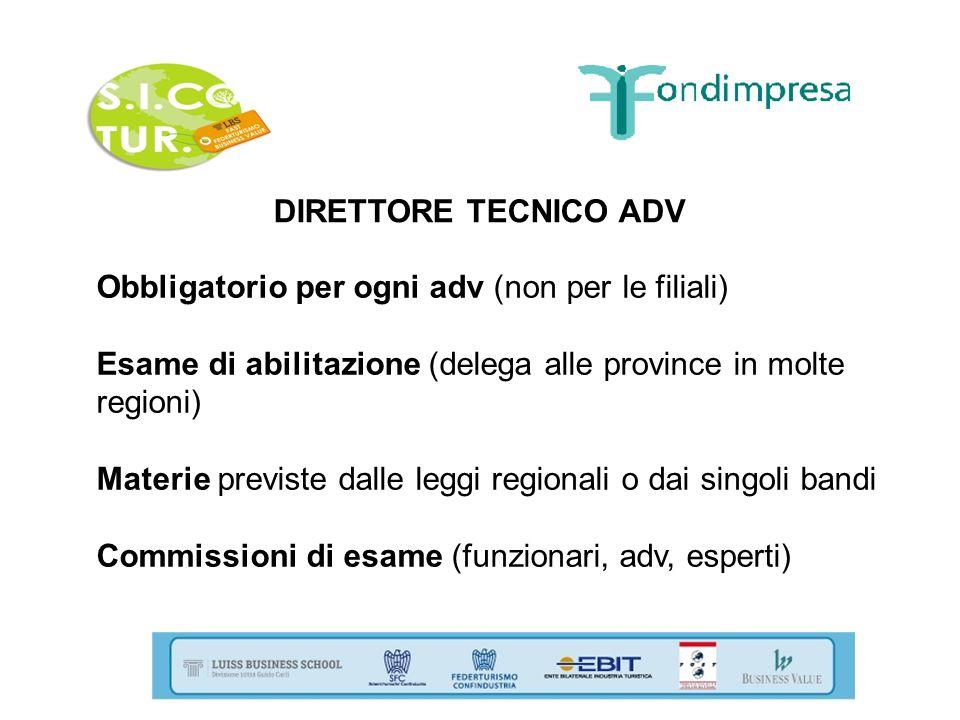 DIRETTORE TECNICO ADV Obbligatorio per ogni adv (non per le filiali) Esame di abilitazione (delega alle province in molte regioni)