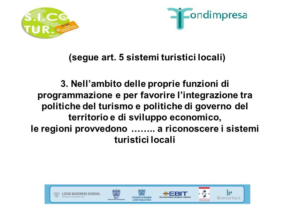 (segue art. 5 sistemi turistici locali)