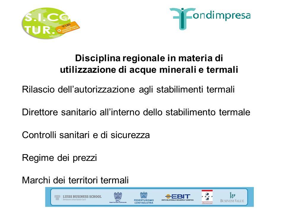 Disciplina regionale in materia di utilizzazione di acque minerali e termali