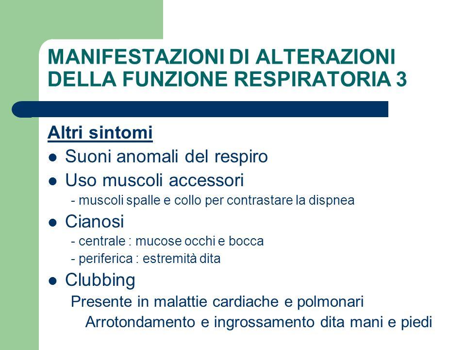 MANIFESTAZIONI DI ALTERAZIONI DELLA FUNZIONE RESPIRATORIA 3