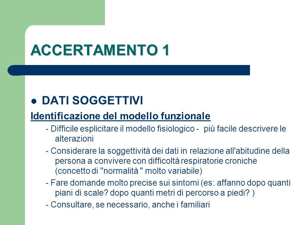 ACCERTAMENTO 1 DATI SOGGETTIVI Identificazione del modello funzionale