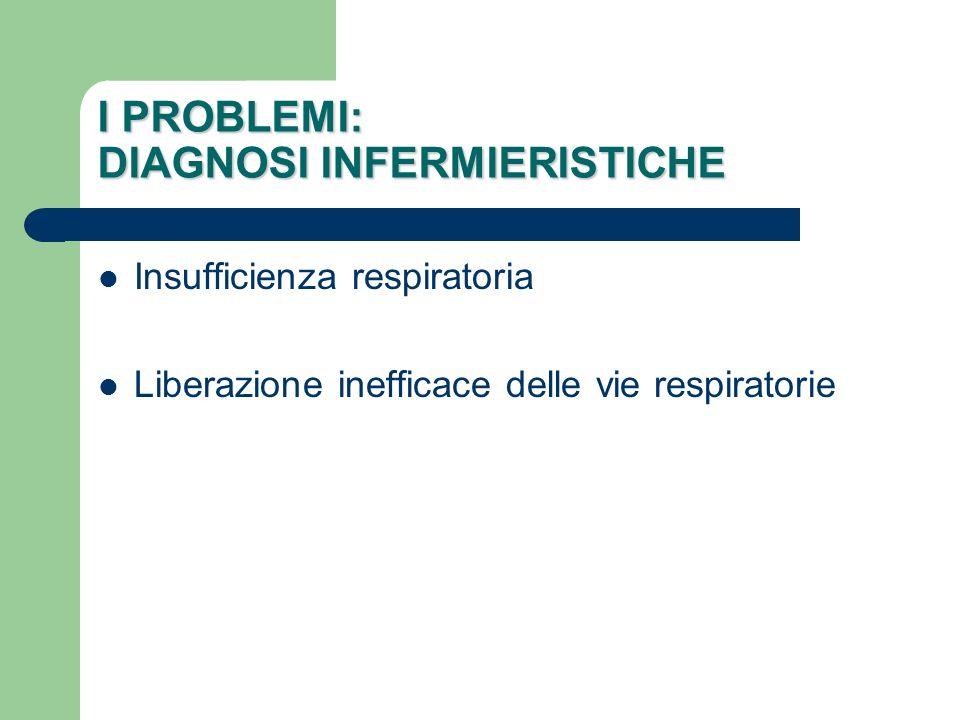 I PROBLEMI: DIAGNOSI INFERMIERISTICHE