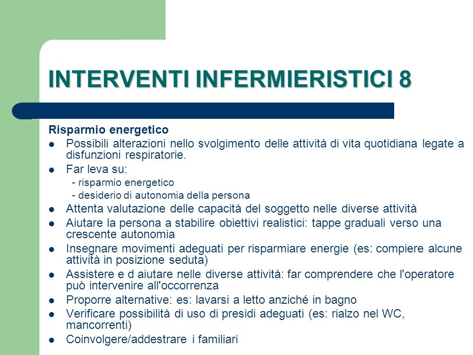 INTERVENTI INFERMIERISTICI 8